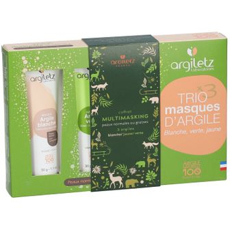 argiletz TRIO masques d'Argile (blanche, verte, jaune)