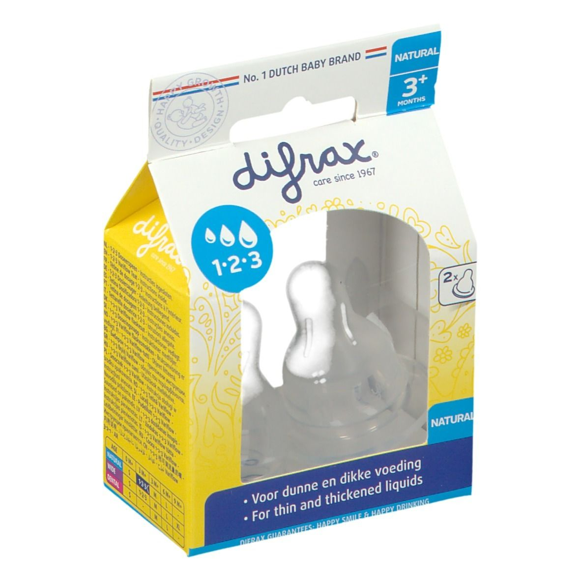 Difrax® Tétine Natural 1-2-3 0+ mois