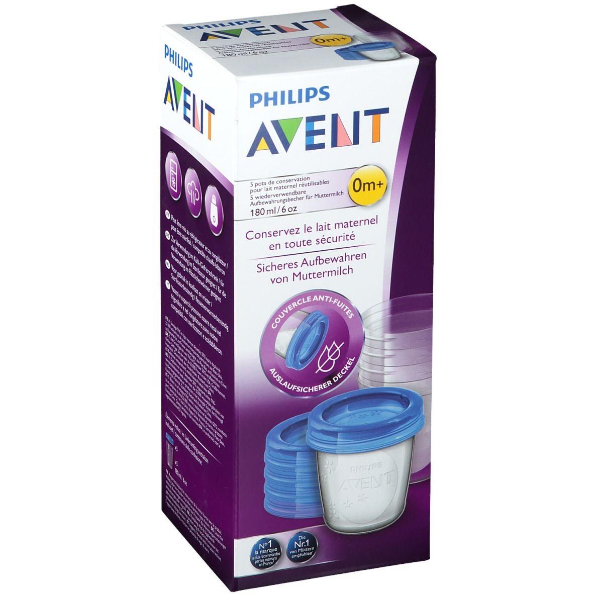 Avent Pots de conservation pour lait maternel 180 ml
