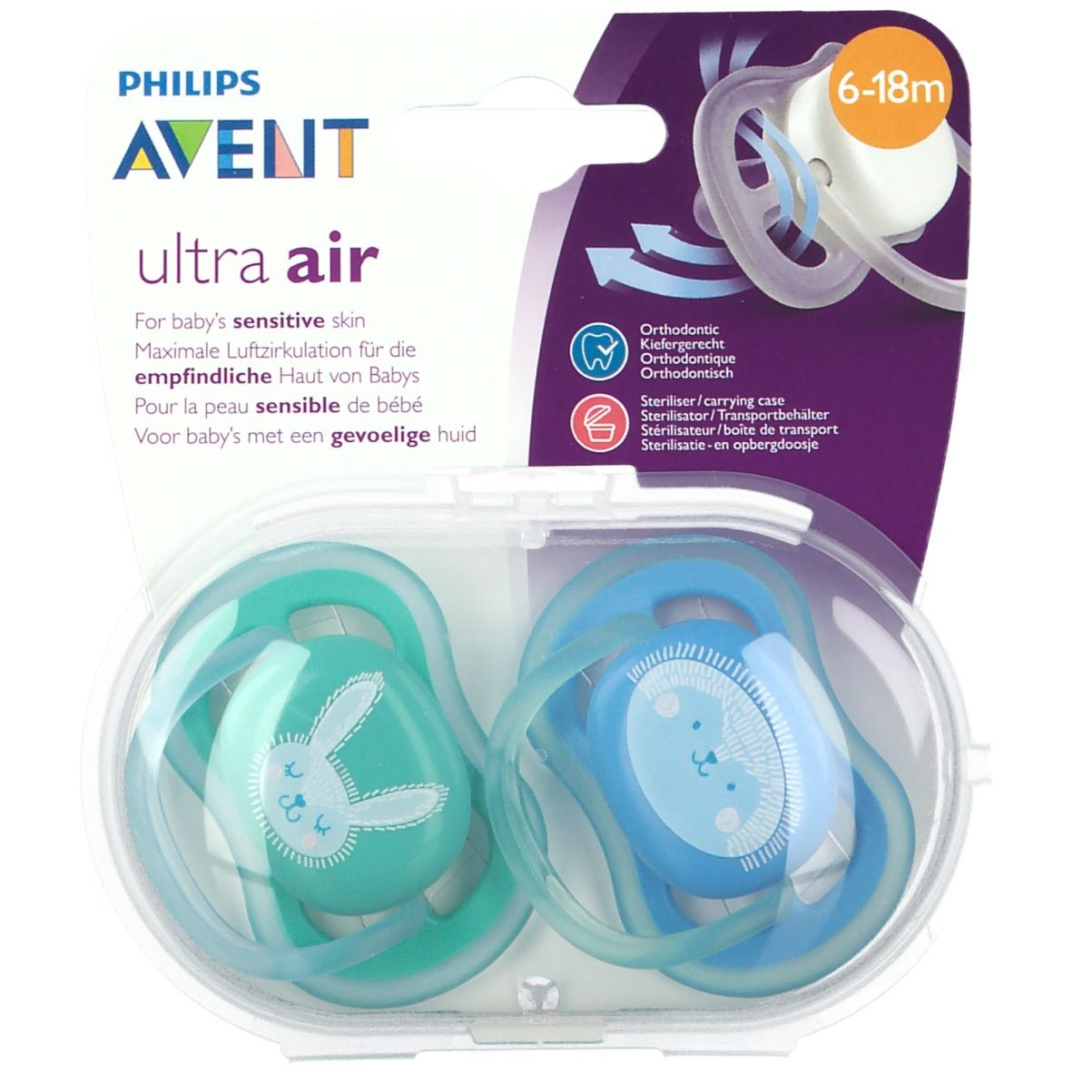 Avent Sucette Ultra Air Silicone Mix 6-18 mois