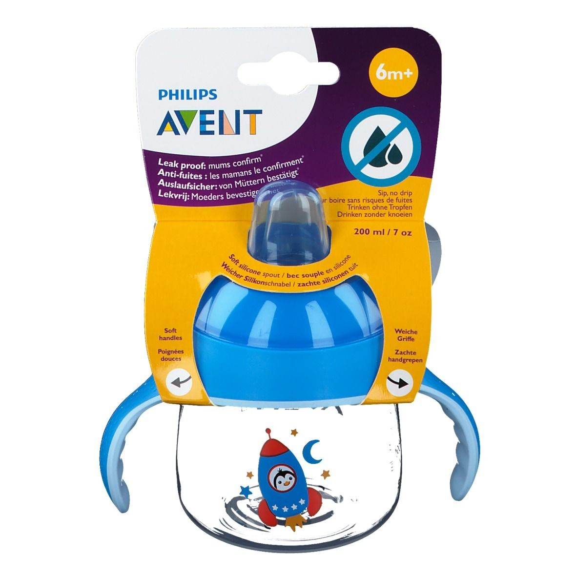 Avent Tasse à bec Anti-Fuite Pinguin Bleu 260 ml +12 mois