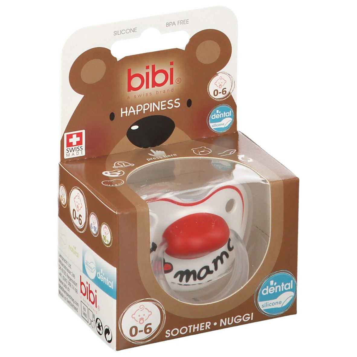 bibi® Happiness Sucette orthodontique I Love Mama 0-6 Mois
