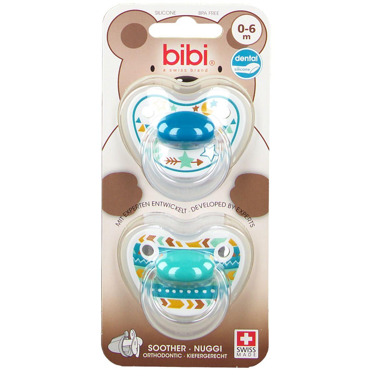 Bibi® Happiness Tétine Dentale en silicone 0-6 mois (Couleur non sélectionnable)