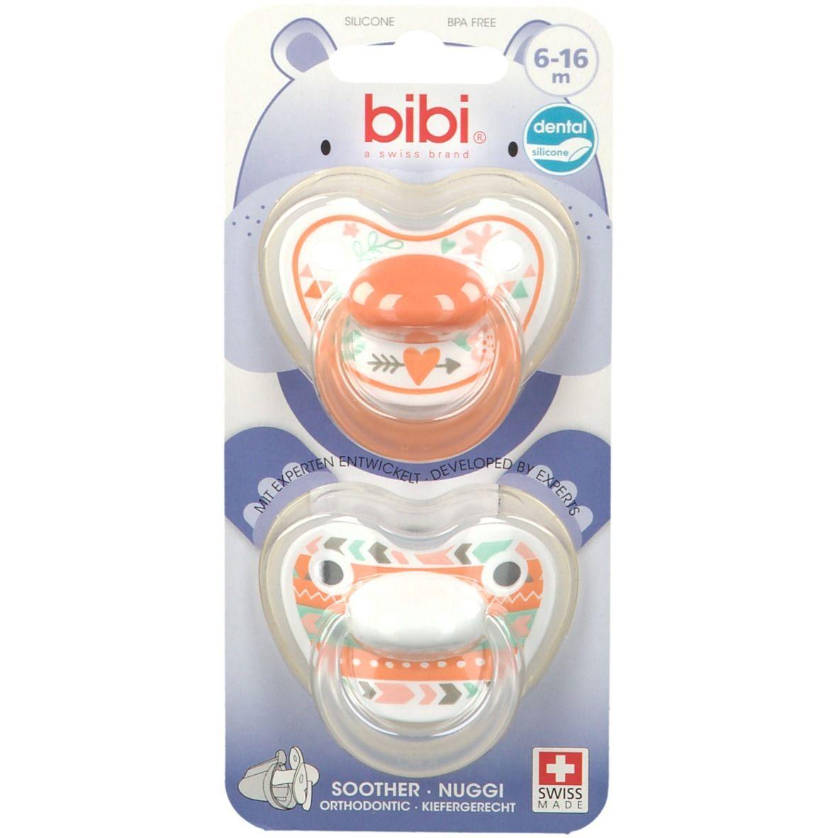 bibi® Happiness Tétine Dentale en silicone 6-16 mois (Couleur non sélectionnable)