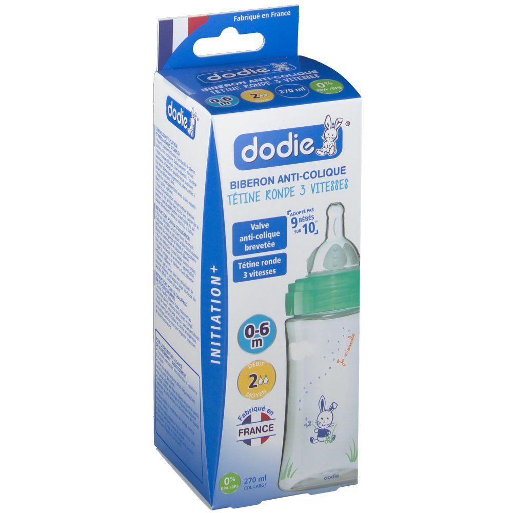"""dodie® Initiation+ Biberon Anti-colique """"Lapin"""" 270 ml vert tétine débit 2"""